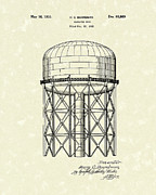 Tower Drawings Framed Prints - Elevated Tank 1933 Patent Art Framed Print by Prior Art Design