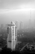 Kantilal Patel Prints - Elevated view of smog filled Bombay Skyline Print by Kantilal Patel