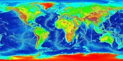 World Map Photos - Elevation Map of The World by Sebastian Musial