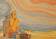 Prairie Sky Paintings - Elevator at Sunset by Scott Kirby