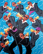 Trumpets Paintings - Eleven Pipers Piping by Whitney Morton