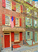Historic Home Pyrography Metal Prints - Elfreths Alley Metal Print by Harry Lamb