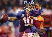 Broncos Mixed Media Framed Prints - Eli and peyton Framed Print by Michael Knight