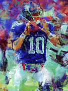Pro Football Digital Art Prints - Eli Manning Abstract 1 Print by David G Paul