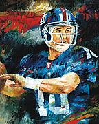 Sports Art Paintings - Eli Manning by Christiaan Bekker