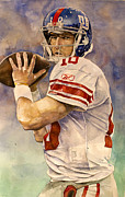 Sports Art Mixed Media Framed Prints - Eli Manning Framed Print by Michael  Pattison