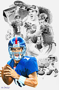 Mvp Mixed Media Prints - Eli Manning MVP Print by Ken Branch