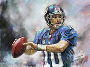 Nfl Drawings Prints - Eli Manning NFL NY Giants  Print by Viola El