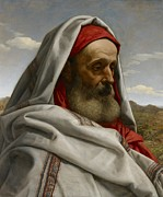 Portrait Of Old Man Posters - Eliezer of Damascus Poster by William Dyce