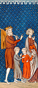 Featured Drawings - Elimelech and his Wife Naomi with their Two Sons by French School