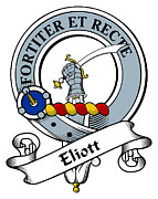 Genealogy Prints - Eliott Clan Badge Print by Heraldry