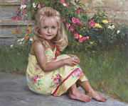 Toddler Portrait Paintings - Elise by Anna Bain