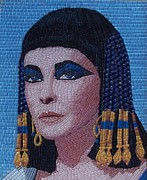 Mosaic Glass Portraits Mixed Media Posters - Elizabeth Taylor as Cleopatra Poster by Liza Wheeler