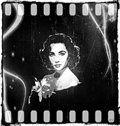 1950s Movies Digital Art Framed Prints - Elizabeth Taylor - Black and White Film Framed Print by Absinthe Art  By Michelle Scott