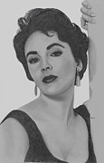 Actress Drawings Framed Prints - Elizabeth Taylor Framed Print by Gil Fong