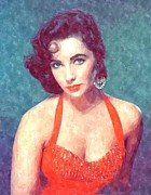 Watercolor! Art Photo Prints - Elizabeth Taylor in Red Print by Sanely Great