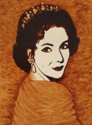 Elizabeth Taylor Paintings - Elizabeth Taylor original coffee painting on paper by Georgeta  Blanaru
