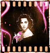 1950s Movies Digital Art Framed Prints - Elizabeth Taylor - Pink Film Framed Print by Absinthe Art  By Michelle Scott