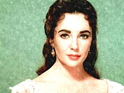Movies Photo Framed Prints - Elizabeth Taylor Portrait Painting Framed Print by Sanely Great