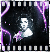 1950s Movies Digital Art Framed Prints - Elizabeth Taylor - Purple Film Framed Print by Absinthe Art  By Michelle Scott