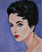 Movie Star Painting Originals - Elizabeth Taylor by Shirl Theis