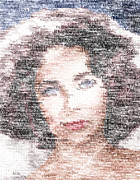 Los Angeles Digital Art Metal Prints - Elizabeth Taylor Typo Metal Print by Taylan Soyturk
