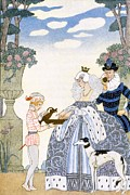 Stencil Framed Prints - Elizabethan England Framed Print by Georges Barbier