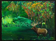 Rack Paintings - Elk Fall by Tracy L Teeter