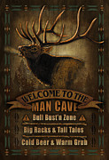 Low Framed Prints - Elk Man Cave Sign Framed Print by JQ Licensing