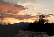 Steamboat Digital Art Prints - Elk River n Pilots Nob Sunset Print by Daniel Hebard