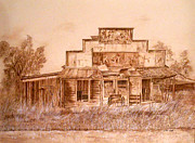 Abandoned  Drawings - Elk Store by Linda Ginn