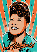 Jazz Digital Art Framed Prints - Ella Fitzgerald Pop Art Framed Print by Jim Zahniser