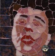 Mosaic Portrait Glass Art - Ella by Gila Rayberg