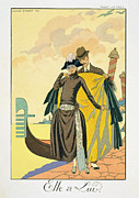 Flirtation Framed Prints - Elle et Lui Framed Print by Georges Barbier