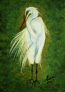 White Birds Prints - Ellie Egret Print by Adele Moscaritolo