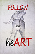 Hall Mixed Media Prints - Ellie FOLLOW Your heART Print by Judy Hall-Folde