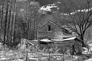 Old Pyrography Posters - Ellijay Barn in Black and White Poster by James Harmon