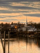 New England Village Prints - Ellsworth Sunset Print by Karin Pinkham