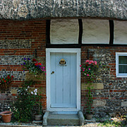 Charming Cottage Prints - Elm Cottage Front Door Nether Wallop Print by Terri  Waters