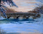 Concord Pastels Framed Prints - Elm Street Bridge on a Winters Morn Framed Print by Jack Skinner