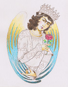 Angelic Drawings - Elohim Haniel Angel Of Grace And Joy by Carolina Gonzalez