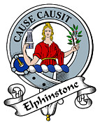 Genealogy Prints - Elphinstone Clan Badge Print by Heraldry