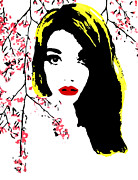 Cherry Blossoms Painting Prints - Elsa With Cherry Blossoms Print by Alexandra Rose