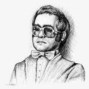 Pop Music Drawings Prints - Elton  Print by Cristophers Dream Artistry