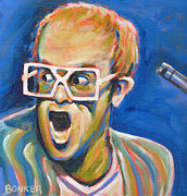 Microphone Painting Framed Prints - Elton John Framed Print by Buffalo Bonker