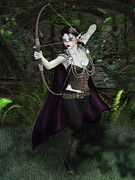 Elven Archer Prints - Elven Archer Female Print by Elle Arden Walby