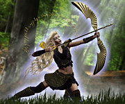 Elven Archer Framed Prints - Elven Archer Framed Print by Suzanne Amberson