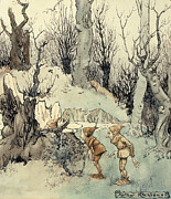 Fantasy Tree Metal Prints - Elves in a Wood Metal Print by Arthur Rackham