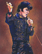 Elvis Pastels Framed Prints - Elvis - The King Framed Print by Dale Lewis