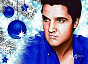 Elvis Drawings - Elvis Blue Christmas by Judy Skaltsounis